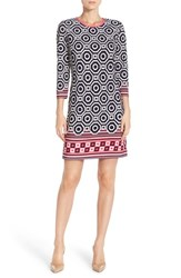 Women's Eliza J Print Jersey Shift Dress Navy Pink