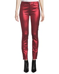Paige Hoxton Ultra Skinny Metallic Ankle Jeans Red Metallic
