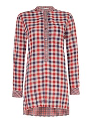 Oui Check Tunic Red