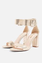 Topshop Rosie Two Part Sandals Metallic Gol