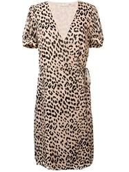 Alice Olivia Leopard Print Wrap Dress Brown