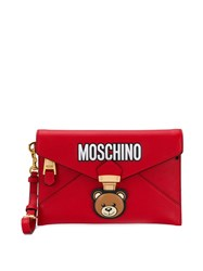 Moschino Teddy Bear Envelope Clutch Red