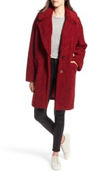 Kendall Kylie Faux Fur Teddy Coat Red