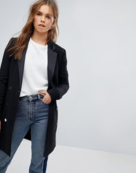 Bershka Double Breasted Longline Blazer Black
