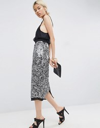 Asos White Speckle Sequin Embellished Skirt Multi