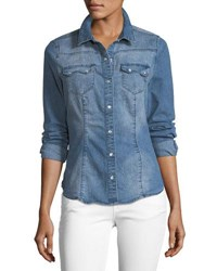 Etienne Marcel Giselle Snap Front Collared Denim Shirt Indigo
