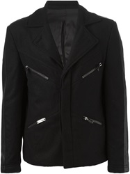 Les Hommes Striped Side Zipped Coat Black