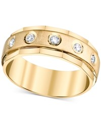 Macy's Men's Diamond Angle Etched Band 1 4 Ct. T.W. In 10K Gold