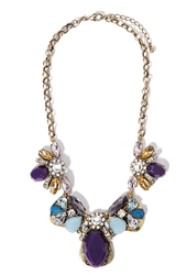 Forever 21 Clustered Faux Stone Statement Necklace Purple Gold