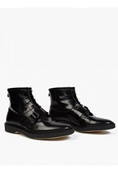 Adieu Black Leather Type 46' Strap Detail Boots