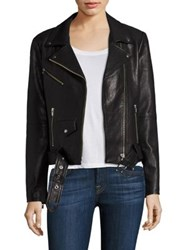 Veda Jayne Belted Leather Moto Jacket Black