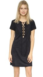 Wayf Faux Suede Lace Up Shift Dress Black