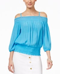 Thalia Sodi Solid Off The Shoulder Crochet Trim Top Only At Macy's Clear Sky
