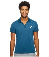 Asics Court Classic Polo Blue Steel Short Sleeve Knit