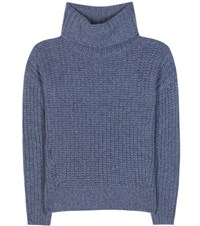 Loro Piana Davenport Cashmere Turtleneck Sweater Blue