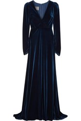Monique Lhuillier Wrap Effect Velvet Gown Navy