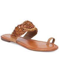 Jessica Simpson Razzel Toe Ring Embellished Flat Sandals Women's Shoes Honey Brown W Tiger Eye Stones