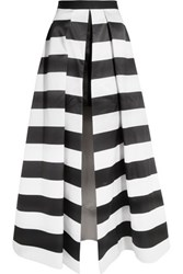 Alice Olivia Mauri Striped Satin Maxi Skirt Black