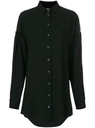 Saint Laurent Mini Shirt Dress Women Acetate Viscose 38 Black