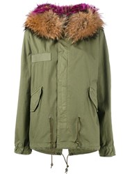 Mr And Mrs Italy Raccoon Fur Hood Unlined Parka Green