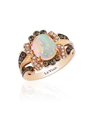 Le Vian Chocolatier Oval Neapolitan Opal Chocolate And Vanilla Diamond Ring
