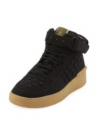 Valentino Rock Be Leather High Top Sneaker Black