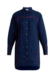 Thierry Colson Ruth Embroidered Cotton Shirtdress Blue Multi