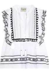 Sea Ruffled Crochet Trimmed Cotton Voile Blouse White