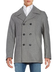 Calvin Klein Wool Blend Double Breasted Coat Light Grey