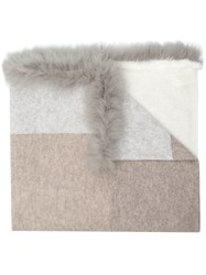 Max And Moi Mink Fox Fur Trim Scarf Nude And Neutrals