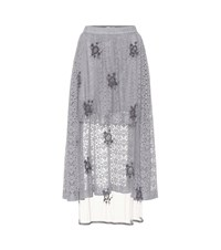 Stella Mccartney Embellished Lace Skirt Grey