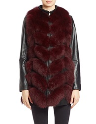 Bagatelle Leather Sleeve Fox Fur Coat Burgundy