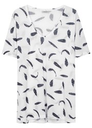 J. Lindeberg Jovana Feather Print Jersey T Shirt White