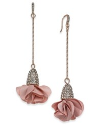 Inc International Concepts Rose Gold Tone Pave Flower Drop Earrings Created For Macy's Pink