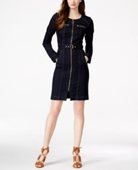 Inc International Concepts Zip Front Indigo Wash Denim Shirtdress Only At Macy's