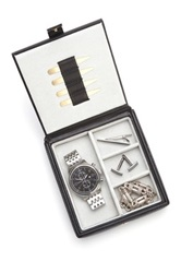 Royce Leather Genuine Leather Black Watch And Cuff Links Box