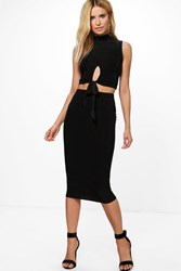 Boohoo Slinky Cut Out Crop And Midi Skirt Black