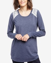 Motherhood Maternity Lace Trim Sweatshirt Primary Navy
