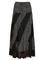 Izabel London Floral Maxi Skirt With Lace Panels Black