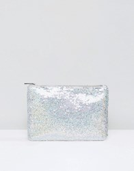 True Decadence Iridescent Sequin Clutch Sequin Silver
