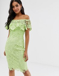 Paper Dolls Bardot Lace Pencil Dress With Frill Detail In Lime Green
