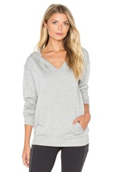 Beyond Yoga Cozy Fleece V Neck Hoodie Gray