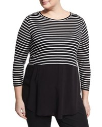 Vince Camuto Curb Striped Relaxed Top Black