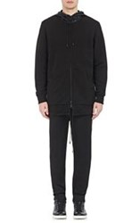 Public School Elongated Zip Front Hoodie Black