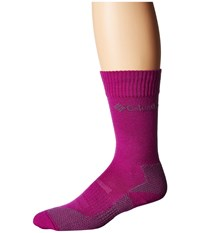 Columbia Hiking Lightweight Merino Crew 1 Pack Bright Plum Crew Cut Socks Shoes Red