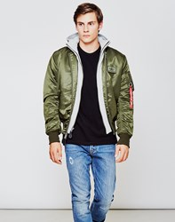 Alpha Industries Ma 1 D Tec Hooded Bomber Jacket Green