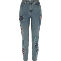 River Island Womens Mid Blue Lori Sequin Floral Skinny Jeans