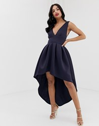 True Violet Exclusive Plunge Front High Low Skater Dress In Navy