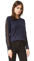 The Kooples Sweater With Lace Detail Navy