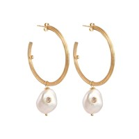 Apples And Figs Baroque Pearl Golden Hoops